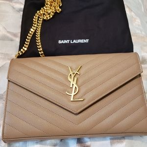 YSL Envelope Chain Embossed Leather Bag